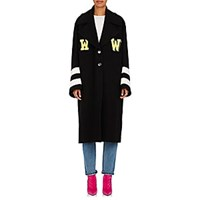 Off White C O Virgil Abloh Grandpa Embellished Wool Blend Melton Coat Black