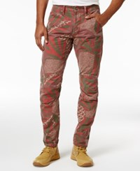 G Star Raw Men's Elwood X25 African Print Jeans Pompeian Red