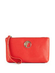 Versace Vibrant Leather Clutch Red