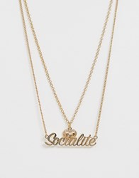 Skinnydip Skinny Dip Socialite Heart Necklace Gold