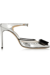 Bionda Castana Atlanta Mesh Trimmed Mirrored Leather Pumps