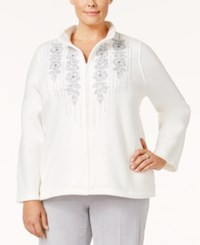Alfred Dunner Plus Size Northern Lights Collection Embroidered Mock Neck Top White