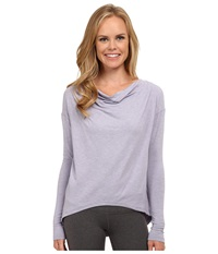 New Balance Draped Layer Long Sleeve Top Daybreak Heather Women's Long Sleeve Pullover Gray