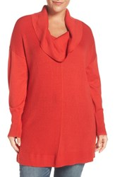 Sejour Plus Size Women's Cowl Neck Tunic Sweater Red Bloom
