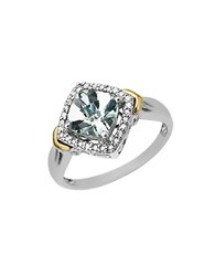 Lord And Taylor Aqua Ring In Sterling Silver With 14 Kt. Yellow Gold Aqua Silver