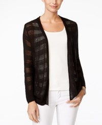 Charter Club Open Knit Striped Cardigan Only At Macy's Deep Black