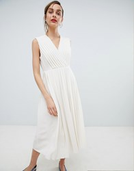 Selected Pleated Wrap Dress Cream