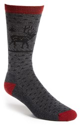 Men's Woolrich 'Heritage Deer' Wool Blend Crew Socks Grey Dark Ruby