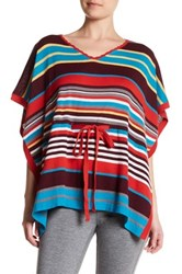 Cullen V Neck Striped Silk Blend Poncho Multi