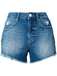 Zoe Karssen Stars Embroidery Denim Shorts Women Cotton 27 Blue