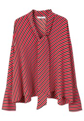 Mango Striped Bow Blouse Red