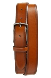 Johnston And Murphy Perforated Leather Belt Tan