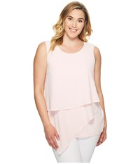 Vince Camuto Specialty Size Plus Sleeveless Asymmetrical Layered Blouse Pale Dahlia Women's Blouse White
