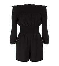 Maje Ilanda Smocked Playsuit Female Black