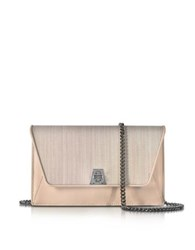 Akris Anouk Pale Rose Horsehair And Leather Clutch W Chain Pink