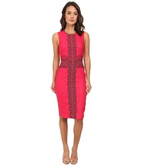 Nicole Miller Embroidered Linen Dress Pomegranate Black Women's Dress Pink