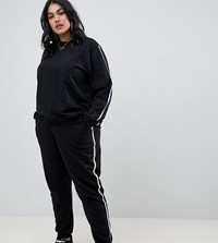 Asos Design Curve Tracksuit Cute Sweat Basic Jogger With Tie With Contrast Binding Black