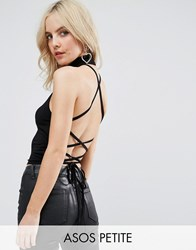 Asos Petite Halter Top With Choker Neck And Strappy Lace Up Back Black