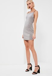Missguided Grey Square Neck Bodycon Dress