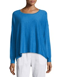Eileen Fisher Featherweight Cashmere Boxy Top Women's Bluebell