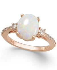 Effy Collection Aurora By Effy Opal 1 3 8 Ct. T.W. And Diamond 1 4 Ct. T.W. Oval Ring In 14K Rose Gold