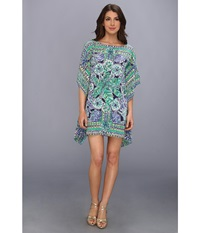 Lilly Pulitzer Lindamarie Caftan Bright Navy Escape Artist Women's Dress Green