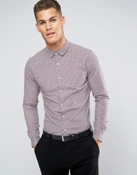 Asos Skinny Shirt In Burgundy Mini Gingham Burgundy Red