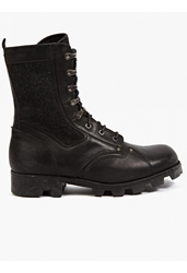 Maison Martin Margiela 22 Men's Black Leather And Wool Military Boots