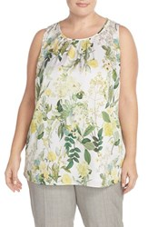 Plus Size Women's Classiques Entier Print Stretch Silk Shell Ivory Spring Botanical Print
