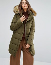 Parka London Thelma Long Padded Jacket With Faux Fur Lined Hood Green