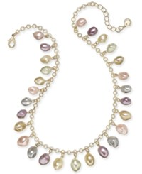 Charter Club Gold Tone Shaky Imitation Pearl Collar Necklace 17 2 Extender Gold Multi