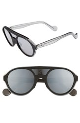 Moncler 52Mm Shield Sunglasses Shiny Black Smoke Mirror Shiny Black Smoke Mirror