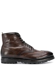 Officine Creative Lace Ankle Boots Brown