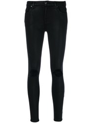 7 For All Mankind Distressed Skinny Jeans Cotton Polyester Spandex Elastane Modal Black