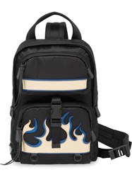 Prada Saffiano Leather Insert Flame Backpack Black
