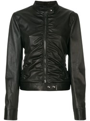 Tom Ford Ruched Fitted Jacket Lamb Skin Polyester Viscose Black