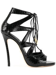 Dsquared2 Tied Strappy Sandals Goat Skin Snake Skin Lamb Nubuck Leather Leather Black