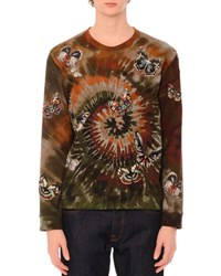 Valentino Butterfly Embroidered Long Sleeve Tie Dye T Shirt Green Multi