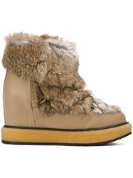 Paloma Barcelo Eskimo Boots Leather Raccoon Dog Rubber Nude Neutrals