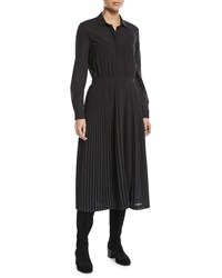 Loro Piana Long Sleeve Button Front Wool Silk Voile Dress W Pleated Skirt Black