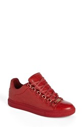 Balenciaga Women's Low Top Sneaker Red Leather