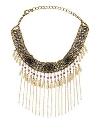 Berry Jewelry Statement Ball Chain Fringe Choker Gold
