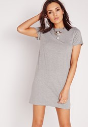 Missguided Short Sleeve T Shirt Dress Grey Grey