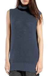 Women's Michael Stars Sleeveless Side Slit Turtleneck Slate Blue