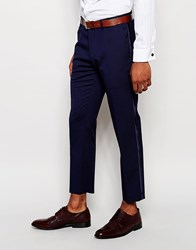 Asos Skinny Tuxedo Suit Trousers With Satin Stripe Navy