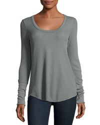 Splendid Scoop Neck Thermal Tunic Aluminum