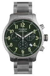 Filson 'The Mackinaw Field' Chronograph Bracelet Watch 43Mm Silver Green