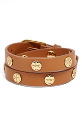 Women's Tory Burch Double Wrap Logo Bracelet Aged Vachetta Gold