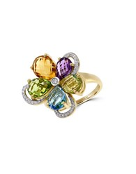 Effy Final Call Diamond Amethyst Blue Topaz Citrine Peridot And 14K Yellow Gold Ring Multicolor