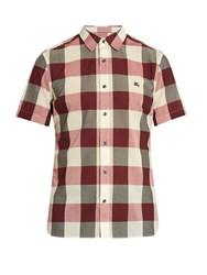 Burberry Short Sleeved Checked Cotton Blend Shirt Red Multi